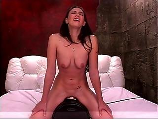 Sexy Bich Is Riding Dildo In Bedroom And Shows Her Tits And Asshole