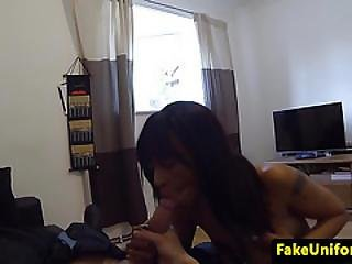 Ebony Amateur Grinding On Fake Coppers Dick