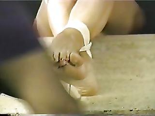 Girls Struggle Feet Tied To Table