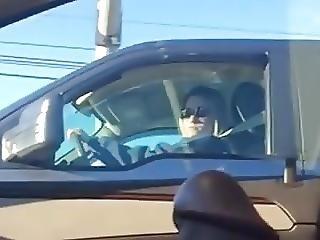 Voyeur Blonde Watches Flasher In Traffic