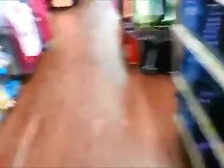 Cute Gal Pees In A Store