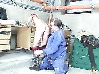 Fucks A Young Bitch In His Garage