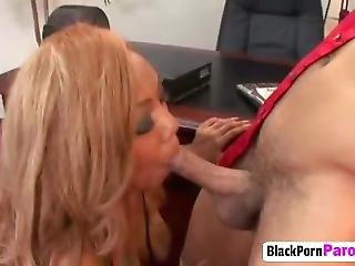 Busty Ebony Chick Blows Big Black Dong In Office