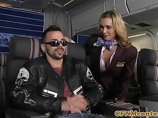 Busty Cfnm Stewardesses Banged Doggystyle In Airplain Fourway
