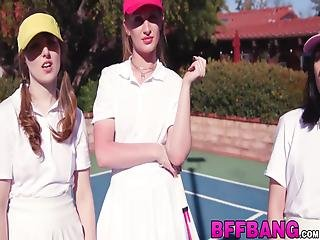 Teens Turn A Tennis Match Into Reverse Gangbang! These Young Sluts Love Fucking Hard And Good!