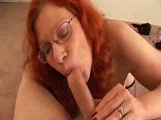 Red Headed Granny With Saggy Juggs   Handjob And Sucking
