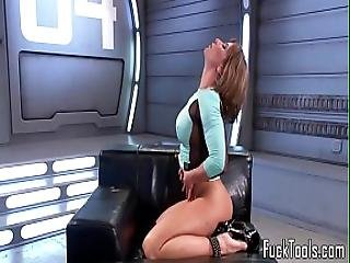 Busty Solo Babe Pussyrubs Before Toying