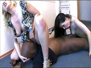 Two White Women Dominating Black Cock