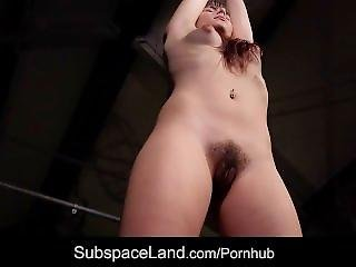 Ruthless Stimulation For Slave Hairy Pussy Restrained In Bondage Agony