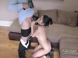 Stunning Brunette Takes Cock On Cast