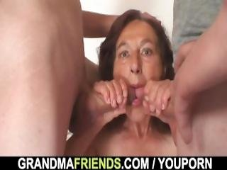 Oldie Swallows Two Young Dicks