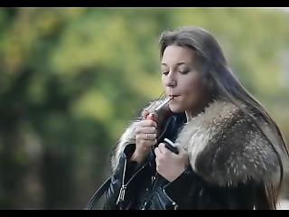 Hooker Smoking With Ben Wa Balls & Huge Fur Collar