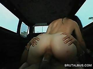 Hot Brunette Grabbed By The Ass Rides Big Cock