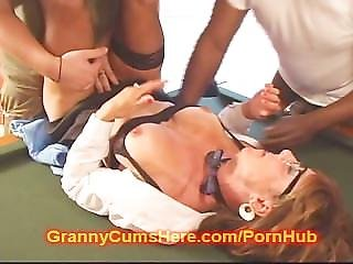 Old Granny Turns Slut At The Pool Hall