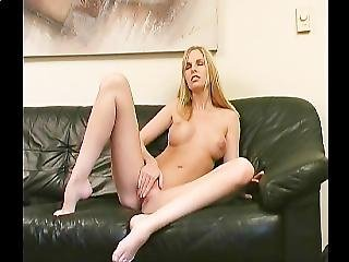 Sexy Blonde With Beautiful Tits Teases And Plays With Herself