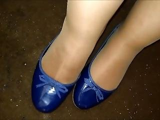 Shoeplay And Cum Into Inextenso Blue Ballerinas Size39