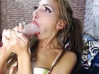Skinny Slut Crismoskow Epic Sloppy Gag Deepthroat