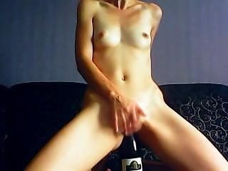 Amazing Beauty Brunette Seat On A Bottle, Deepin Her Pussy, And Lick It Aft