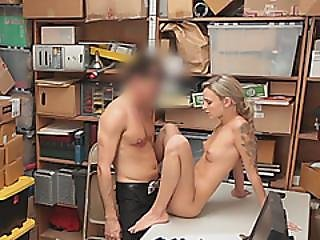 Blonde Nervous Teen Accused Of Shop Lifting Fucked Hard By Fake Manager