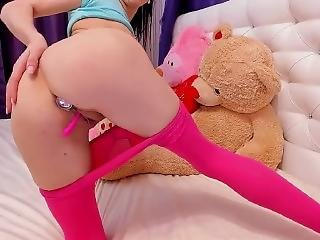 Cute Tiny Brunette Butt Plug Pink Pantyhose