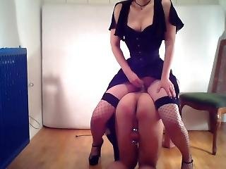 Dominatrix Trains Her Slave For The First Time