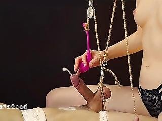 Young Russian Mistress Tied Slave. Gentle Torture Ends With A Ruined Orgasm