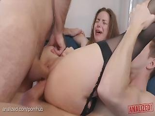 Big Natural Boobs Porn Star Stella Cox Rough Anal Double Penetration Abuse