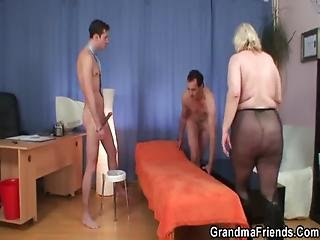Grandma Threesome At Work Place