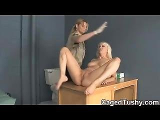 Hot Blonde Spanked In Jail