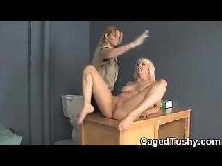 Hot Blonde Spanked In Jail