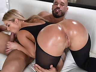 Phat Ass Oiled White Babe On Big Cock