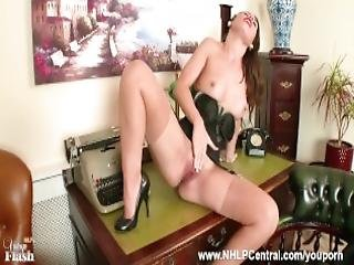 Brunette Secretary Jess West Strips And Masturbates On Desk In Classy Vintage Lingerie And Rare Diamond Back Full Fashion Nylons