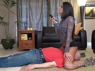 Sexy Teen Watching Tv On A Slave
