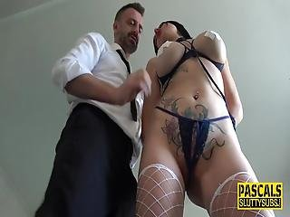 Bound Busty Submissive Gets Throated And Analized By Pascal