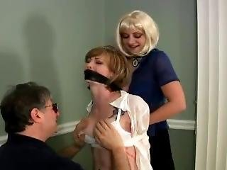 Woman In Jeans Is Bound, Gagged And Groped By A Man And A Woman