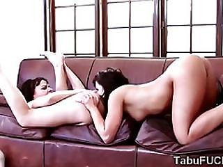 Gorgeous Brunette Cougar Fucks Stepdaughter Savagely