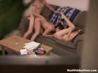 Threesome sex on a hidden camera