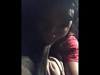 Young Ebony Girl Sucking Boyfriend's Bbc In The Car