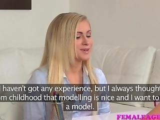 Femaleagent Sexy Petite Blonde Seduced By Beautiful Agent
