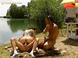 Michelle Wild - Public Threesome In Beach