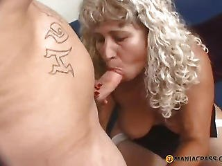 Aunt With Long Hair Fucks Guy On The Couch