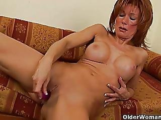 Lascivious Grandma With Large Love Muffins Gives Her Old Vagina A Treat