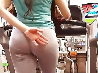 Candid Teen Ass In Light Grey Jiggle