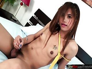 Small Titted Petite Femboy Strokes Massive Pecker And Jizzes