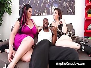 Cuban Queen Angelina Castro And Sara Jay Blow A Big Black Dick