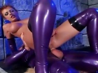 Anal Sex In Shiny Latex Lingerie And High Heels