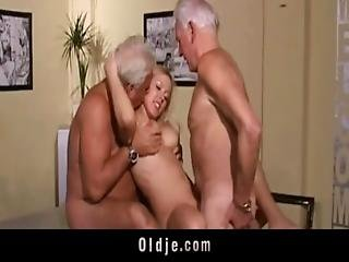 Hot Old Young Threesome Fuck