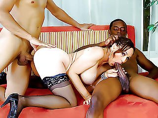 2 Black Guys Bang A Guys Wife While He Watches