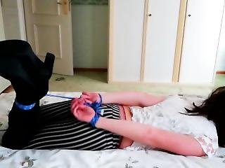 Teen Hogtied On Bed