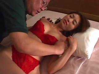 Avmost.com - Japanese Hottie In Red Lingerie Humping A Mature Guy S Dick